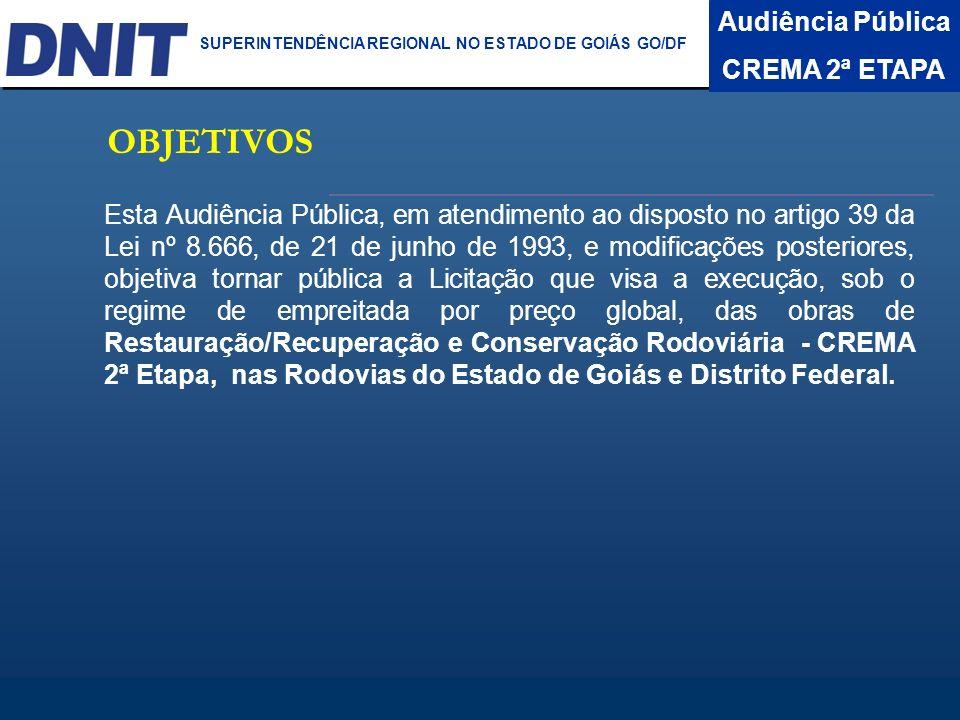 Audiência Pública CREMA 2ª ETAPA DNIT SUPERINTENDÊNCIA REGIONAL NO ESTADO DA BAHIA BR- 040/DF -Trecho: BR-040/DF Entr.