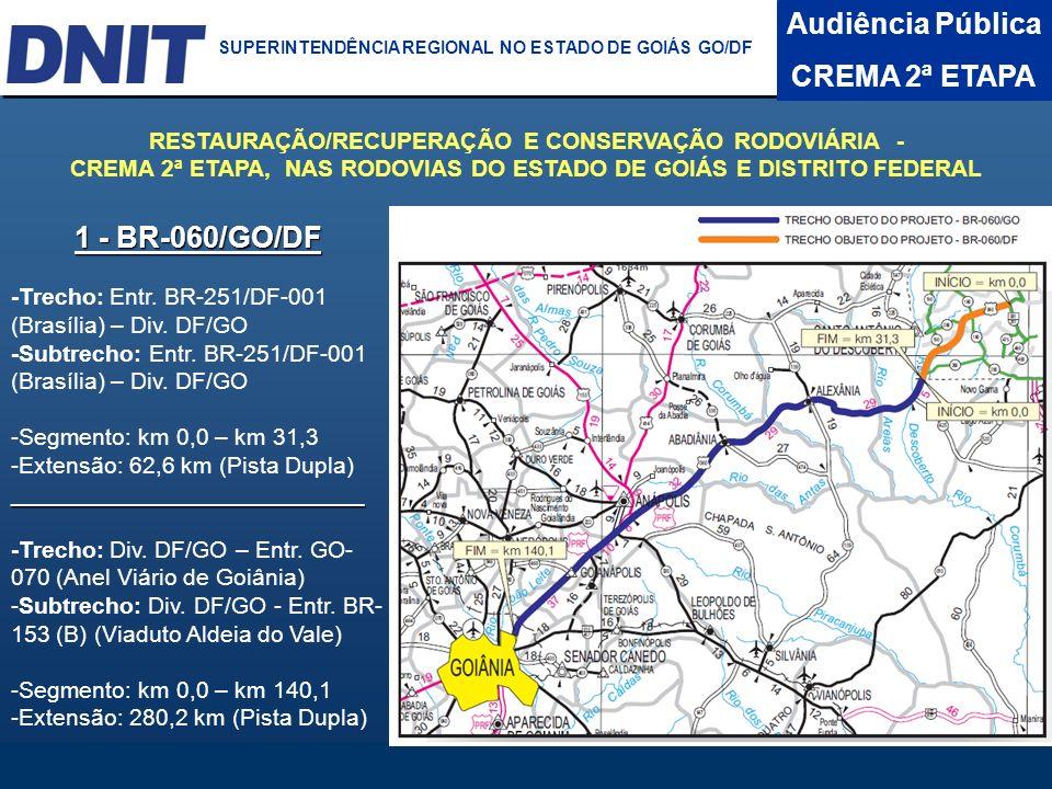 Audiência Pública CREMA 2ª ETAPA DNIT SUPERINTENDÊNCIA REGIONAL NO ESTADO DA BAHIA 1 - BR-060/GO/DF -Trecho: Entr. BR-251/DF-001 (Brasília) – Div. DF/