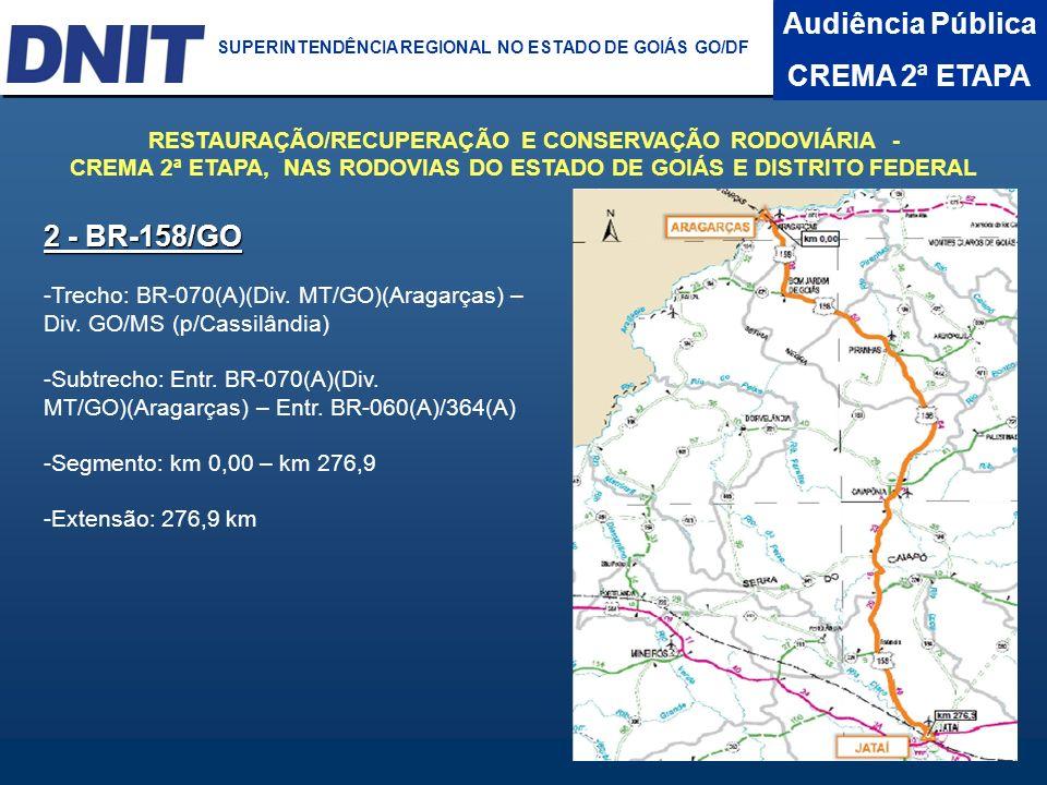 Audiência Pública CREMA 2ª ETAPA DNIT SUPERINTENDÊNCIA REGIONAL NO ESTADO DA BAHIA 2 - BR-158/GO -Trecho: BR-070(A)(Div. MT/GO)(Aragarças) – Div. GO/M