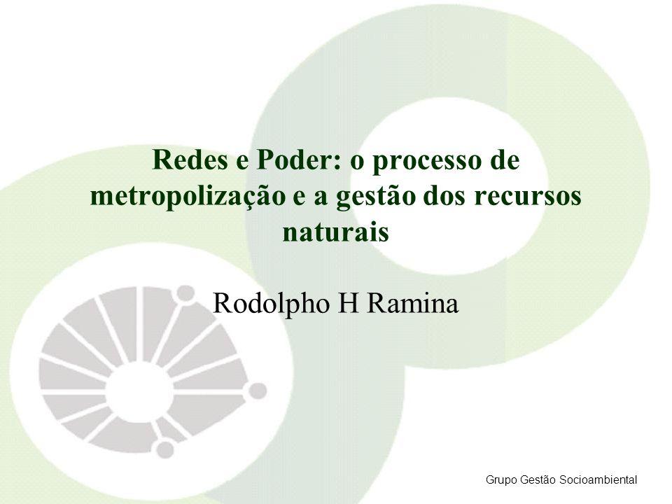 Redes e Poder: o processo de metropolização e a gestão dos recursos naturais Rodolpho H Ramina Grupo Gestão Socioambiental