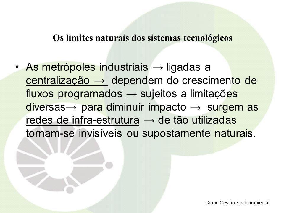 Os limites naturais dos sistemas tecnológicos As metrópoles industriais ligadas a centralização dependem do crescimento de fluxos programados sujeitos