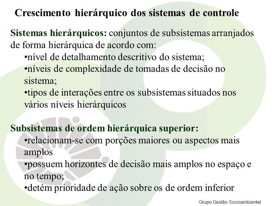 Crescimento hierárquico dos sistemas de controle Sistemas hierárquicos: conjuntos de subsistemas arranjados de forma hierárquica de acordo com: nível