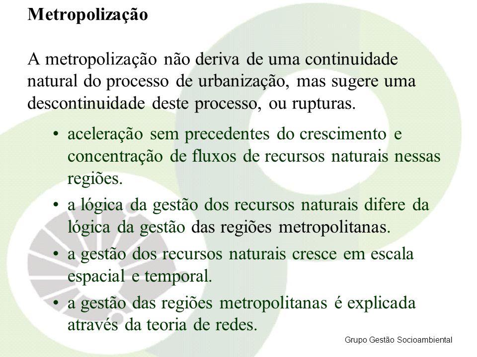 Metropolização A metropolização não deriva de uma continuidade natural do processo de urbanização, mas sugere uma descontinuidade deste processo, ou r