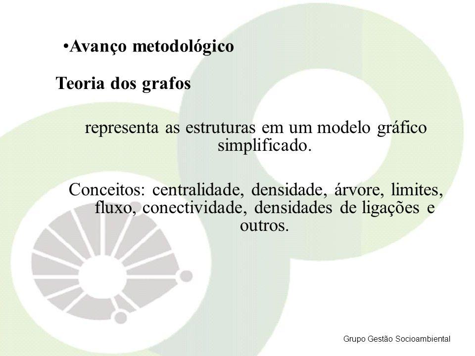 Teoria dos grafos representa as estruturas em um modelo gráfico simplificado. Conceitos: centralidade, densidade, árvore, limites, fluxo, conectividad