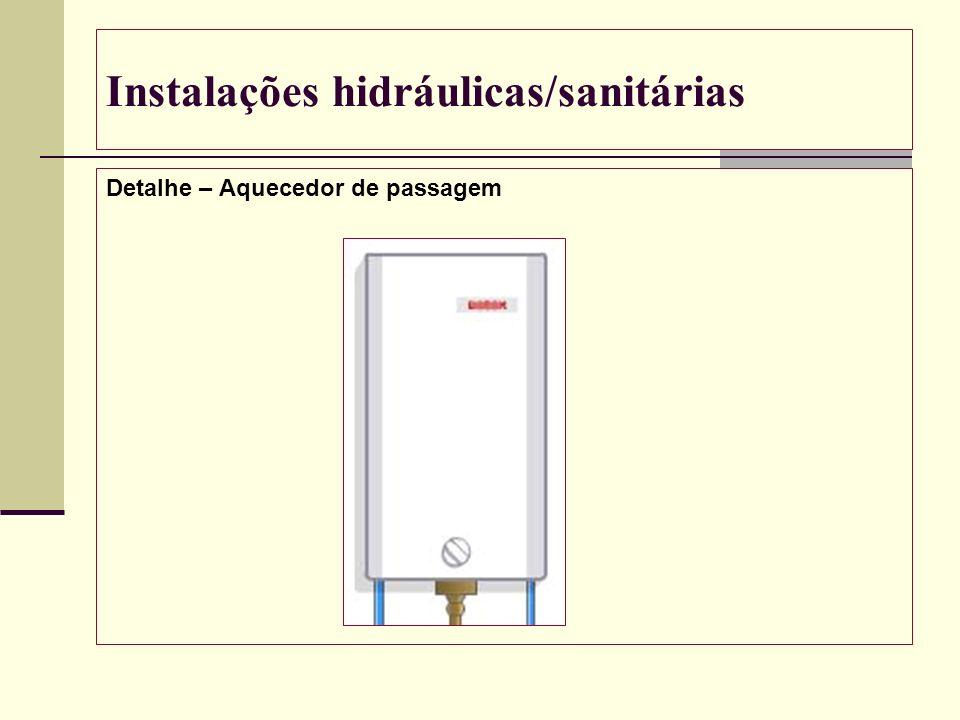 Instalações hidráulicas/sanitárias Detalhe – Aquecedor de passagem
