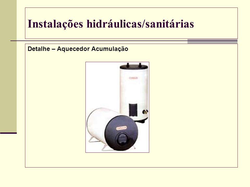 Instalações hidráulicas/sanitárias Detalhe – Aquecedor Acumulação