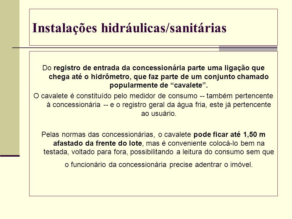 Instalações hidráulicas/sanitárias Do registro de entrada da concessionária parte uma ligação que chega até o hidrômetro, que faz parte de um conjunto