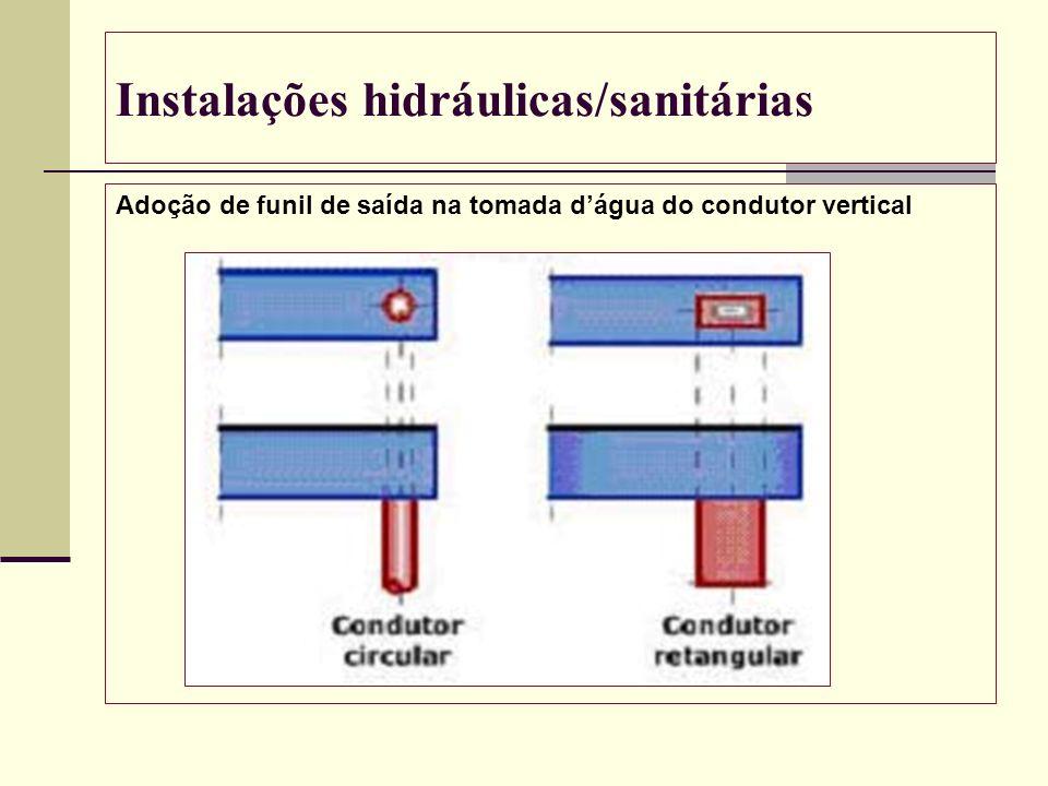 Instalações hidráulicas/sanitárias Adoção de funil de saída na tomada dágua do condutor vertical