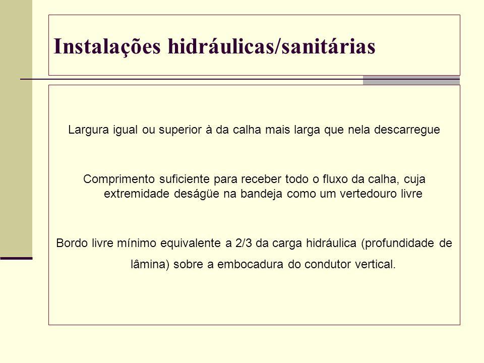 Instalações hidráulicas/sanitárias Largura igual ou superior à da calha mais larga que nela descarregue Comprimento suficiente para receber todo o flu