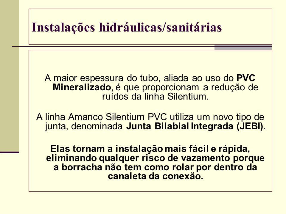 Instalações hidráulicas/sanitárias A maior espessura do tubo, aliada ao uso do PVC Mineralizado, é que proporcionam a redução de ruídos da linha Silen