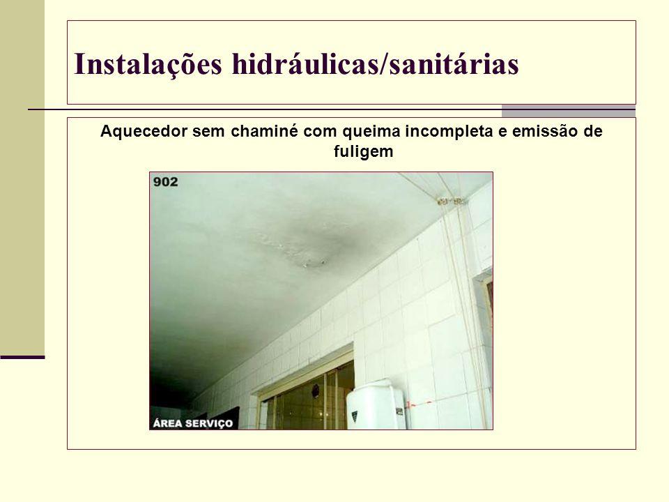Instalações hidráulicas/sanitárias Aquecedor sem chaminé com queima incompleta e emissão de fuligem