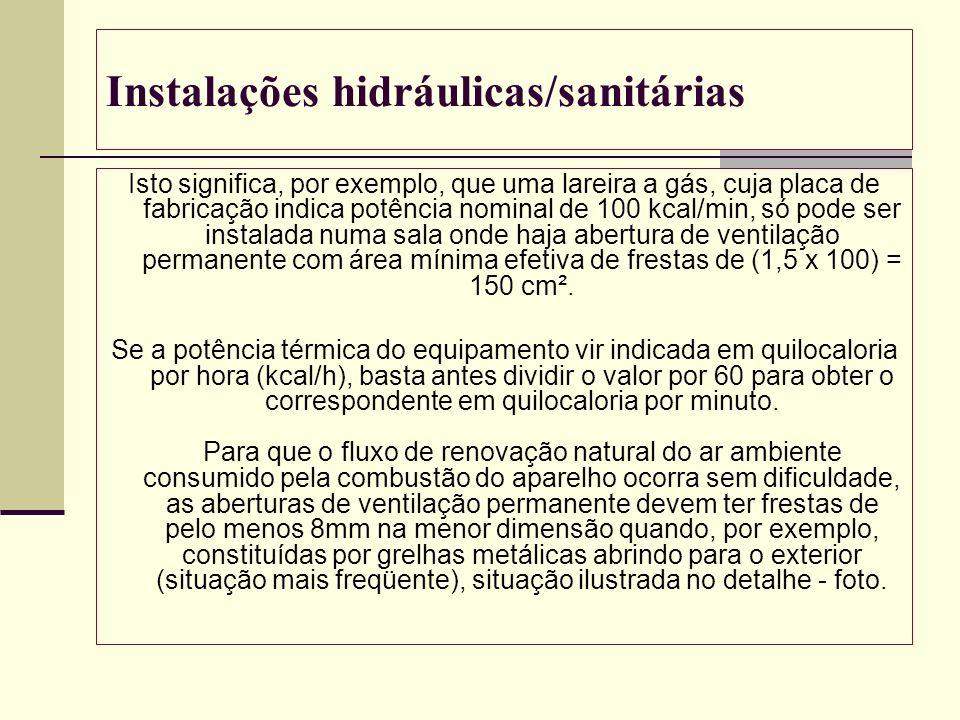 Instalações hidráulicas/sanitárias Isto significa, por exemplo, que uma lareira a gás, cuja placa de fabricação indica potência nominal de 100 kcal/mi