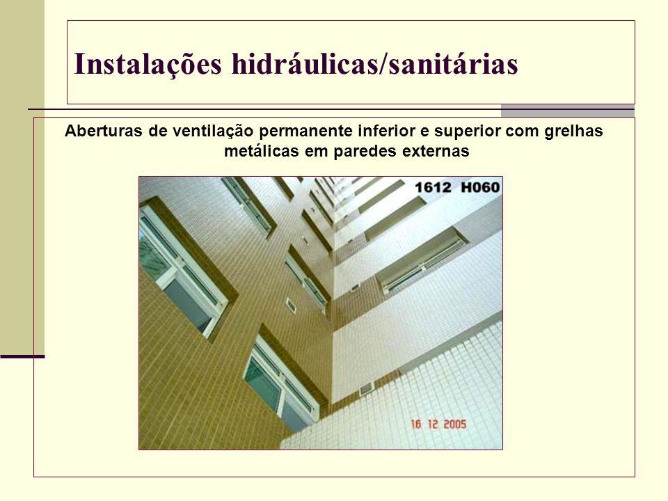 Instalações hidráulicas/sanitárias Aberturas de ventilação permanente inferior e superior com grelhas metálicas em paredes externas