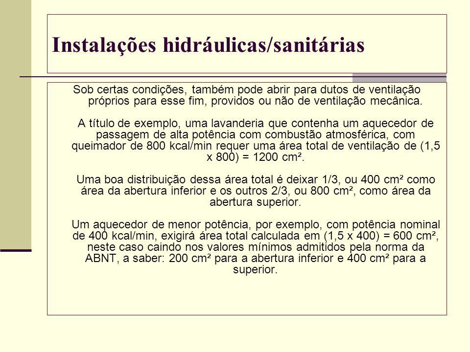 Instalações hidráulicas/sanitárias Sob certas condições, também pode abrir para dutos de ventilação próprios para esse fim, providos ou não de ventila