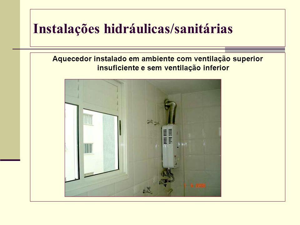 Instalações hidráulicas/sanitárias Aquecedor instalado em ambiente com ventilação superior insuficiente e sem ventilação inferior