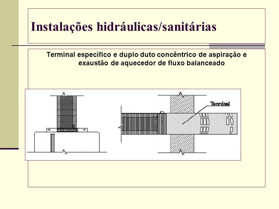Instalações hidráulicas/sanitárias Terminal específico e duplo duto concêntrico de aspiração e exaustão de aquecedor de fluxo balanceado