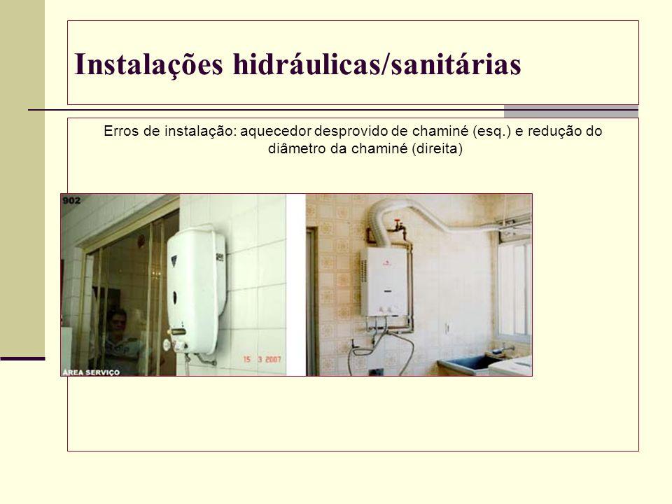 Instalações hidráulicas/sanitárias Erros de instalação: aquecedor desprovido de chaminé (esq.) e redução do diâmetro da chaminé (direita)