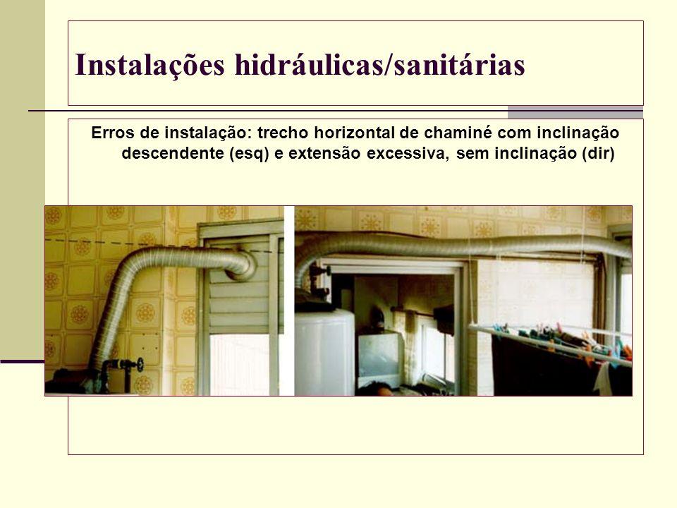Instalações hidráulicas/sanitárias Erros de instalação: trecho horizontal de chaminé com inclinação descendente (esq) e extensão excessiva, sem inclin
