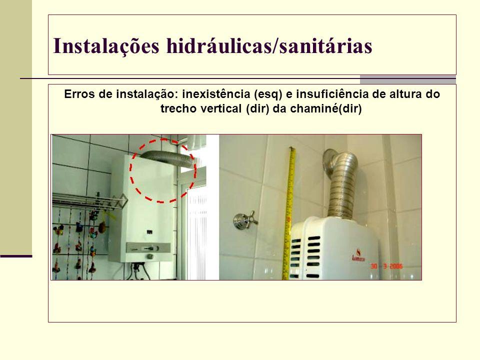 Instalações hidráulicas/sanitárias Erros de instalação: inexistência (esq) e insuficiência de altura do trecho vertical (dir) da chaminé(dir)