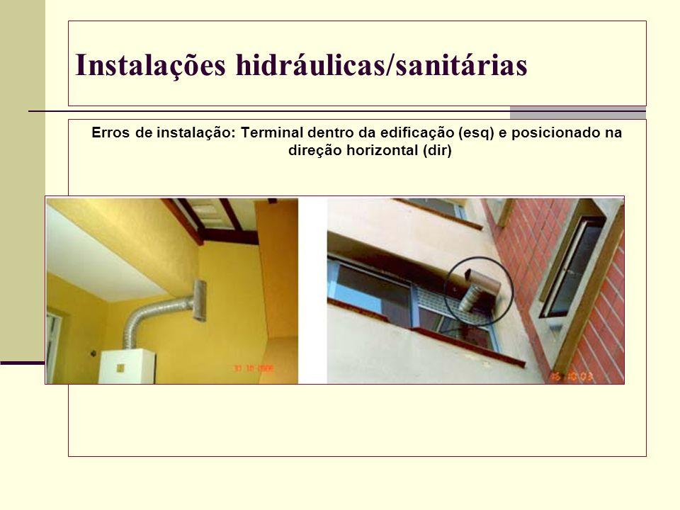 Instalações hidráulicas/sanitárias Erros de instalação: Terminal dentro da edificação (esq) e posicionado na direção horizontal (dir)