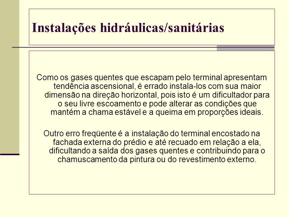 Instalações hidráulicas/sanitárias Como os gases quentes que escapam pelo terminal apresentam tendência ascensional, é errado instala-los com sua maio