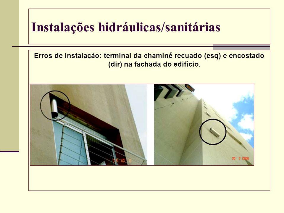 Instalações hidráulicas/sanitárias Erros de instalação: terminal da chaminé recuado (esq) e encostado (dir) na fachada do edifício.