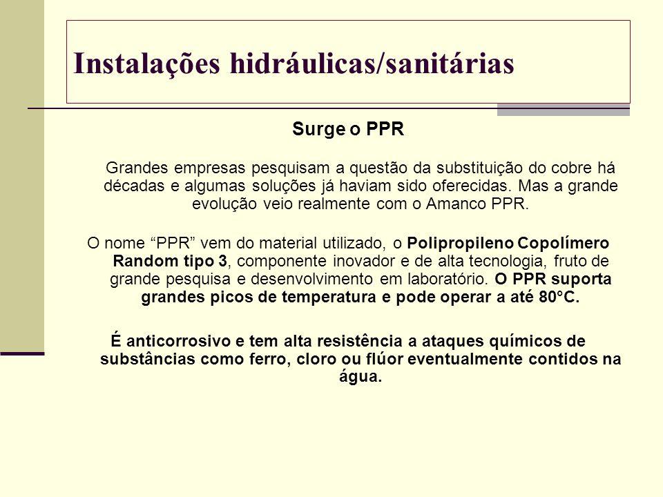 Instalações hidráulicas/sanitárias Surge o PPR Grandes empresas pesquisam a questão da substituição do cobre há décadas e algumas soluções já haviam s