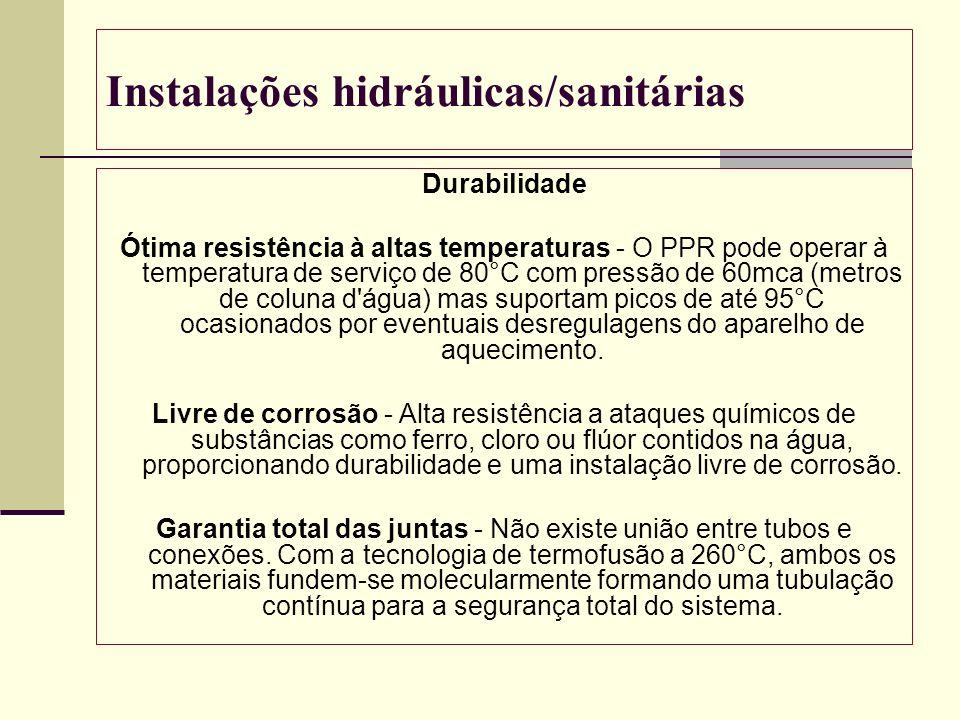 Instalações hidráulicas/sanitárias Durabilidade Ótima resistência à altas temperaturas - O PPR pode operar à temperatura de serviço de 80°C com pressã