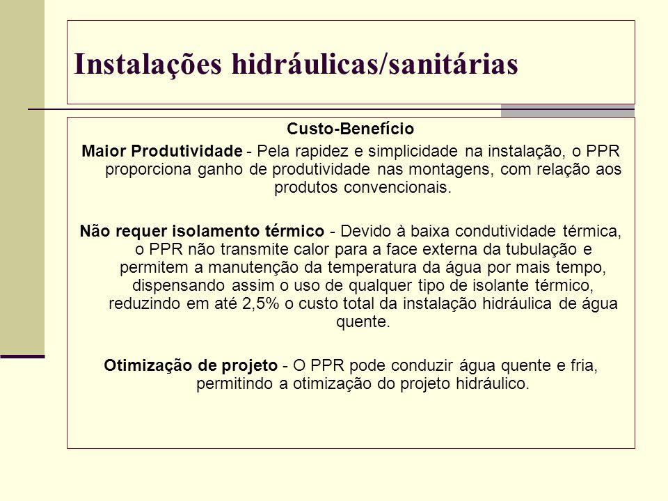 Instalações hidráulicas/sanitárias Custo-Benefício Maior Produtividade - Pela rapidez e simplicidade na instalação, o PPR proporciona ganho de produti