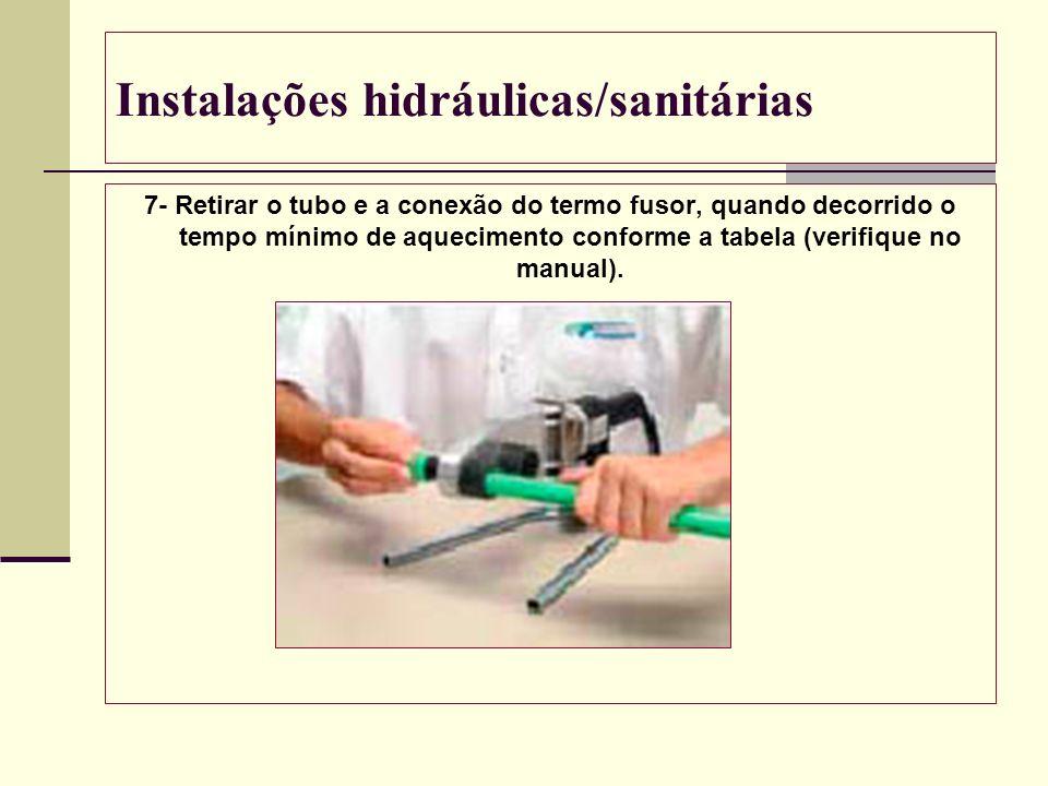 Instalações hidráulicas/sanitárias 7- Retirar o tubo e a conexão do termo fusor, quando decorrido o tempo mínimo de aquecimento conforme a tabela (ver