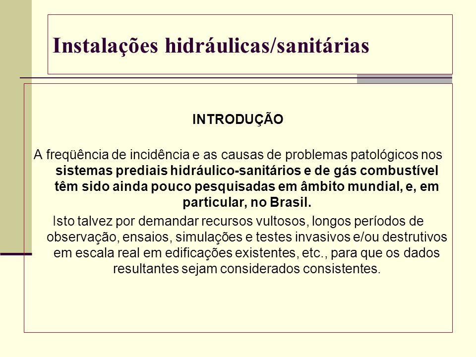 Instalações hidráulicas/sanitárias INTRODUÇÃO A freqüência de incidência e as causas de problemas patológicos nos sistemas prediais hidráulico-sanitár