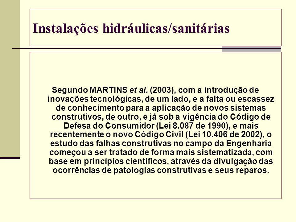 Instalações hidráulicas/sanitárias Segundo MARTINS et al. (2003), com a introdução de inovações tecnológicas, de um lado, e a falta ou escassez de con