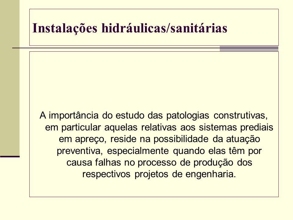 Instalações hidráulicas/sanitárias A importância do estudo das patologias construtivas, em particular aquelas relativas aos sistemas prediais em apreç