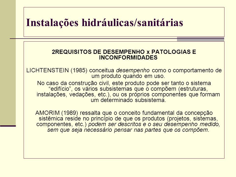 Instalações hidráulicas/sanitárias 2REQUISITOS DE DESEMPENHO x PATOLOGIAS E INCONFORMIDADES LICHTENSTEIN (1985) conceitua desempenho como o comportame