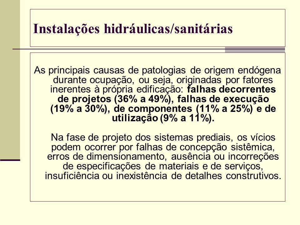 Instalações hidráulicas/sanitárias As principais causas de patologias de origem endógena durante ocupação, ou seja, originadas por fatores inerentes à