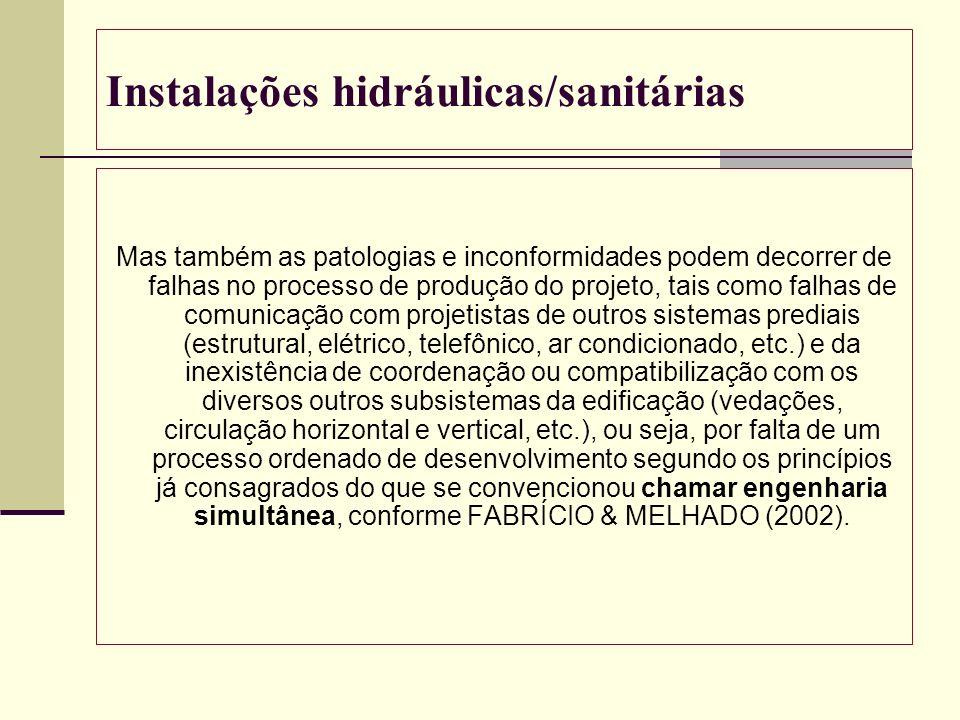 Instalações hidráulicas/sanitárias Mas também as patologias e inconformidades podem decorrer de falhas no processo de produção do projeto, tais como f