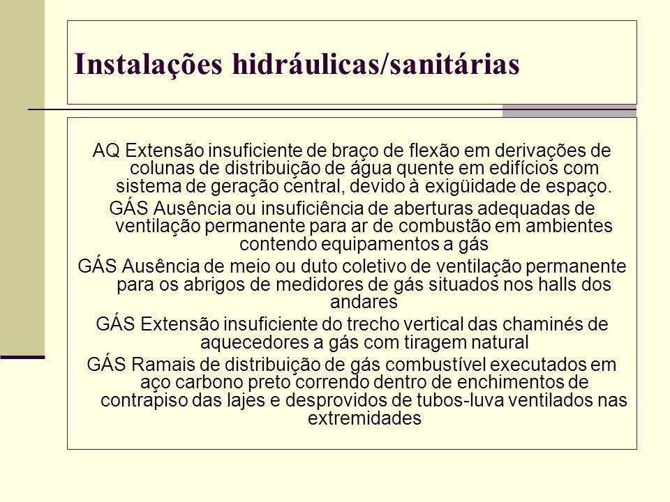 Instalações hidráulicas/sanitárias AQ Extensão insuficiente de braço de flexão em derivações de colunas de distribuição de água quente em edifícios co
