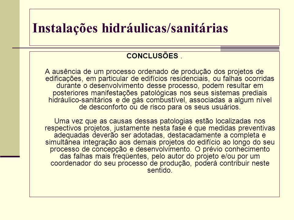 Instalações hidráulicas/sanitárias CONCLUSÕES. A ausência de um processo ordenado de produção dos projetos de edificações, em particular de edifícios