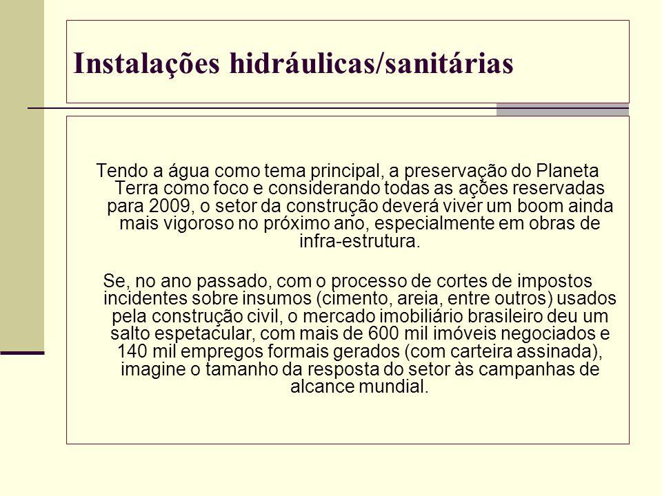 Instalações hidráulicas/sanitárias Tendo a água como tema principal, a preservação do Planeta Terra como foco e considerando todas as ações reservadas