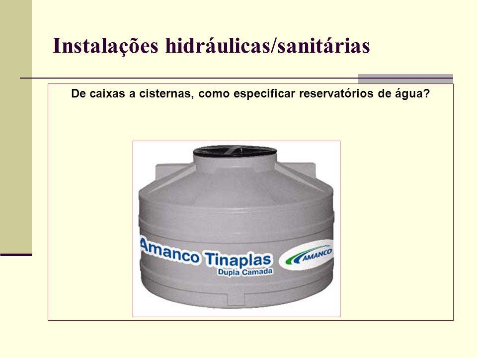 Instalações hidráulicas/sanitárias De caixas a cisternas, como especificar reservatórios de água?