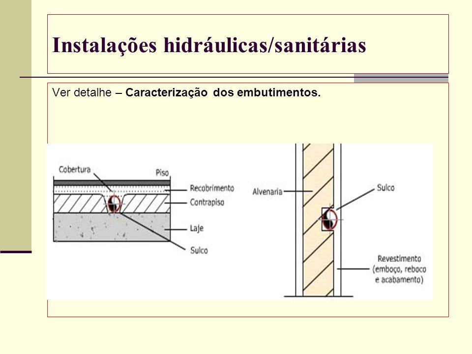 Instalações hidráulicas/sanitárias Ver detalhe – Caracterização dos embutimentos.