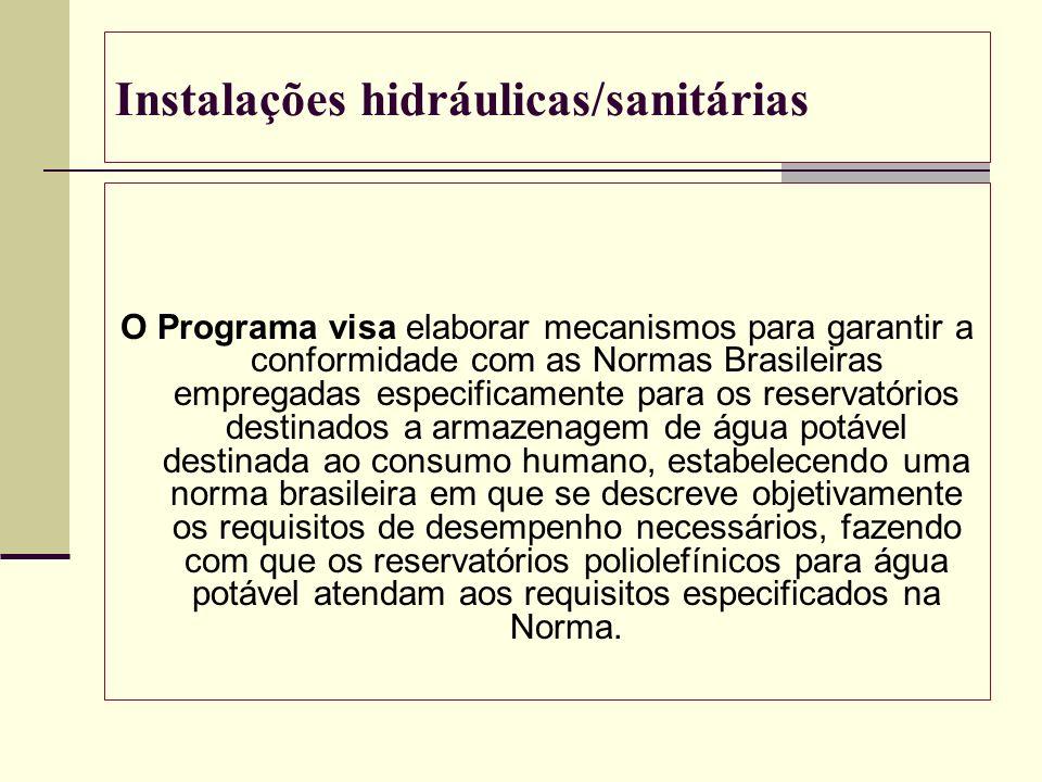 Instalações hidráulicas/sanitárias O Programa visa elaborar mecanismos para garantir a conformidade com as Normas Brasileiras empregadas especificamen