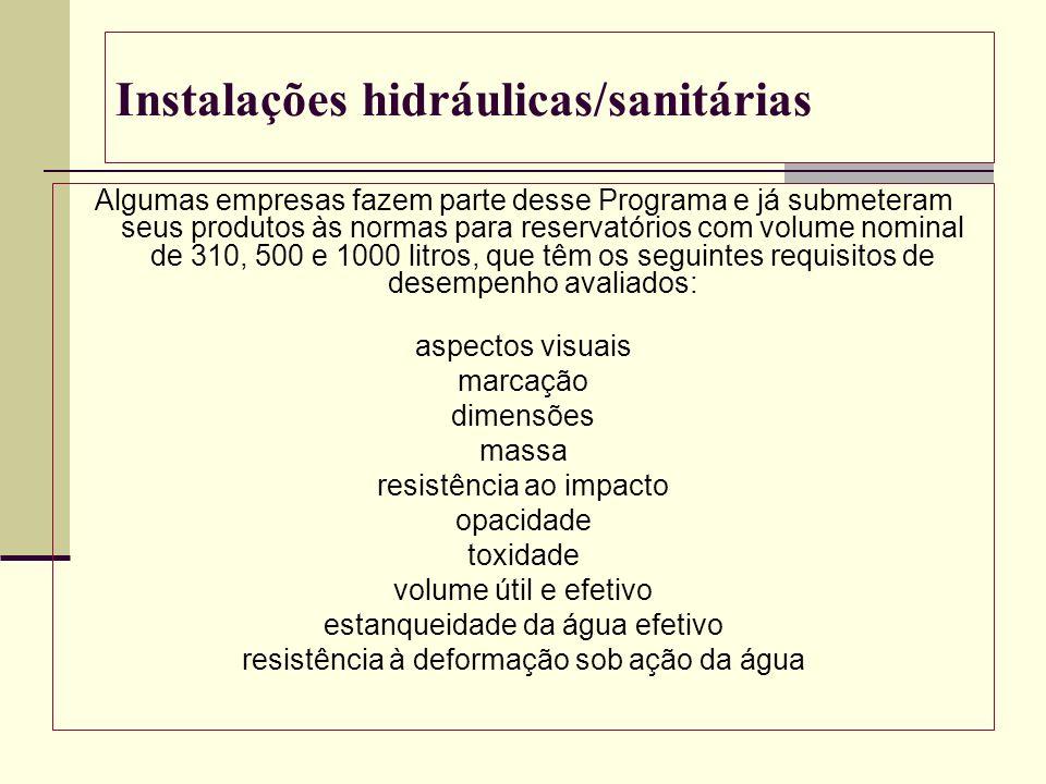 Instalações hidráulicas/sanitárias Algumas empresas fazem parte desse Programa e já submeteram seus produtos às normas para reservatórios com volume n