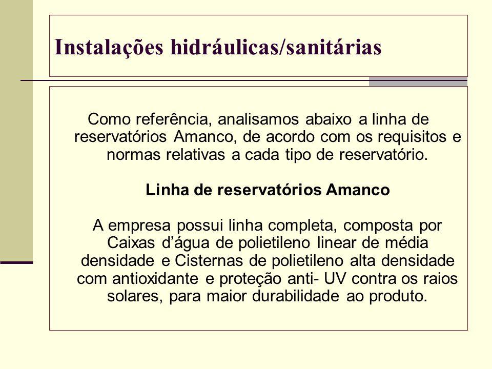 Instalações hidráulicas/sanitárias Como referência, analisamos abaixo a linha de reservatórios Amanco, de acordo com os requisitos e normas relativas