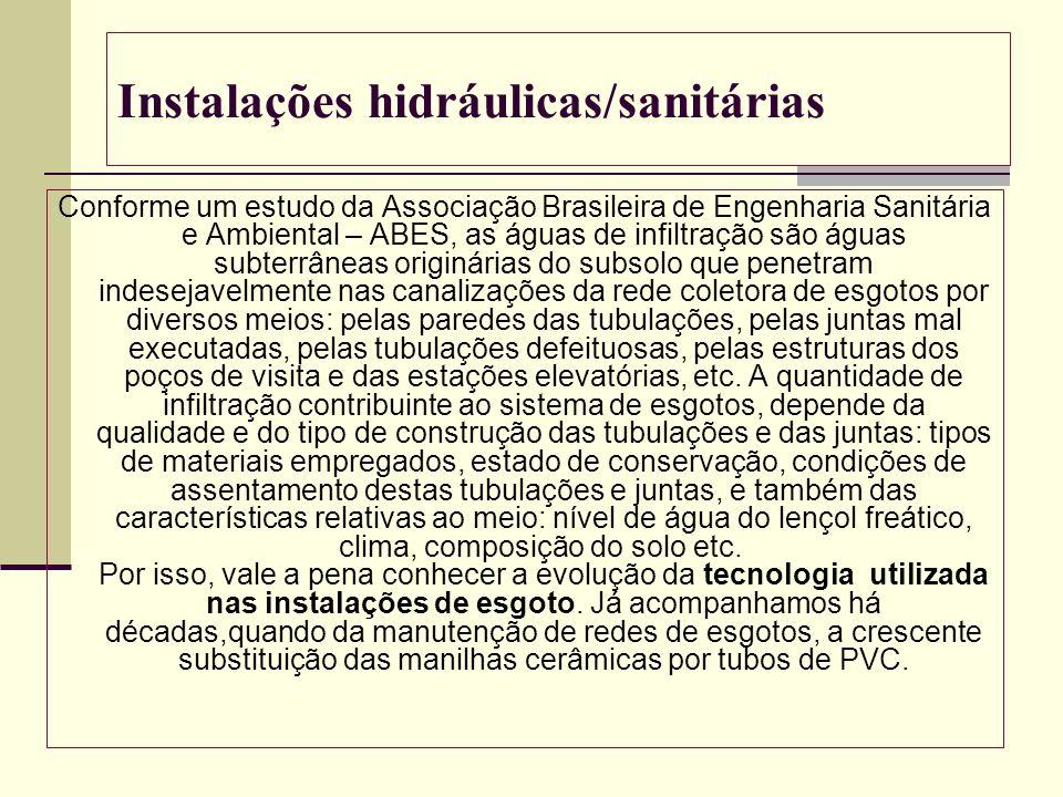 Instalações hidráulicas/sanitárias Conforme um estudo da Associação Brasileira de Engenharia Sanitária e Ambiental – ABES, as águas de infiltração são