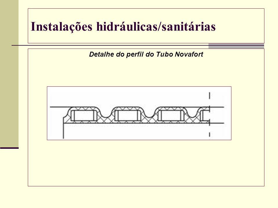 Instalações hidráulicas/sanitárias Detalhe do perfil do Tubo Novafort