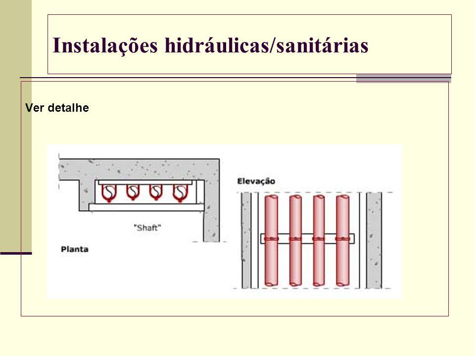 Instalações hidráulicas/sanitárias Ver detalhe