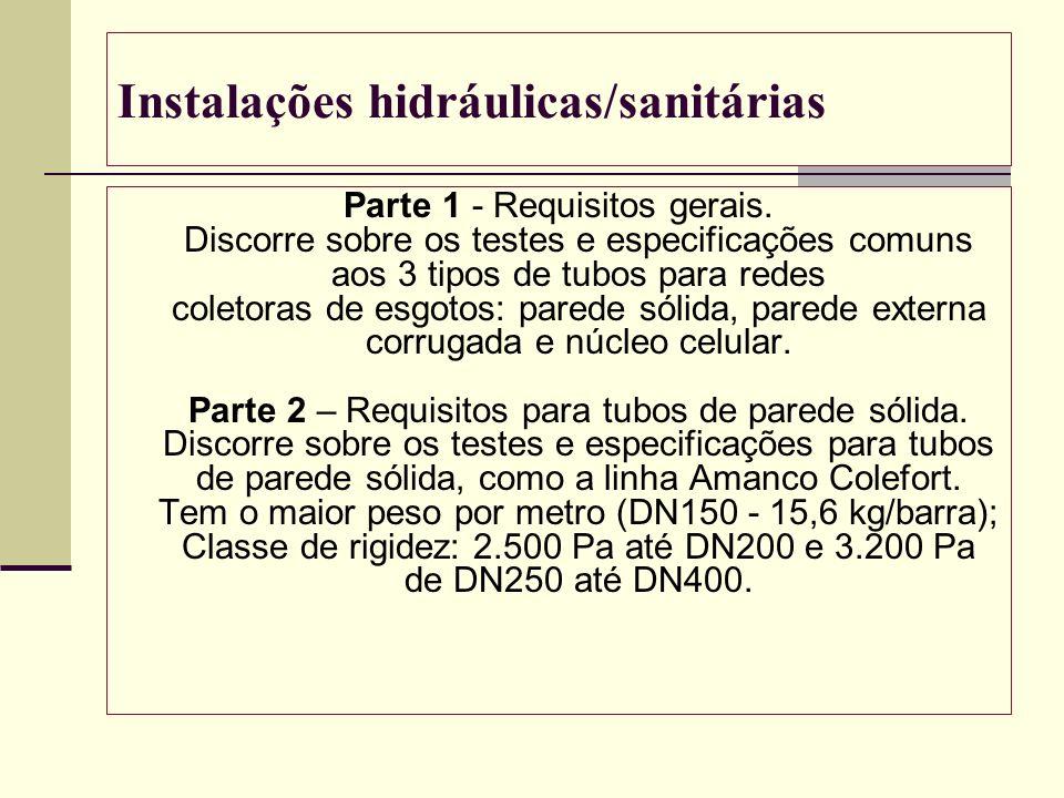 Instalações hidráulicas/sanitárias Parte 1 - Requisitos gerais. Discorre sobre os testes e especificações comuns aos 3 tipos de tubos para redes colet