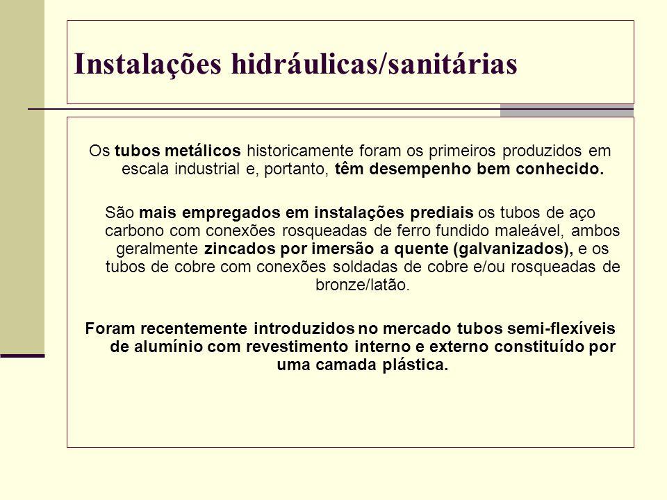 Instalações hidráulicas/sanitárias Os tubos metálicos historicamente foram os primeiros produzidos em escala industrial e, portanto, têm desempenho be