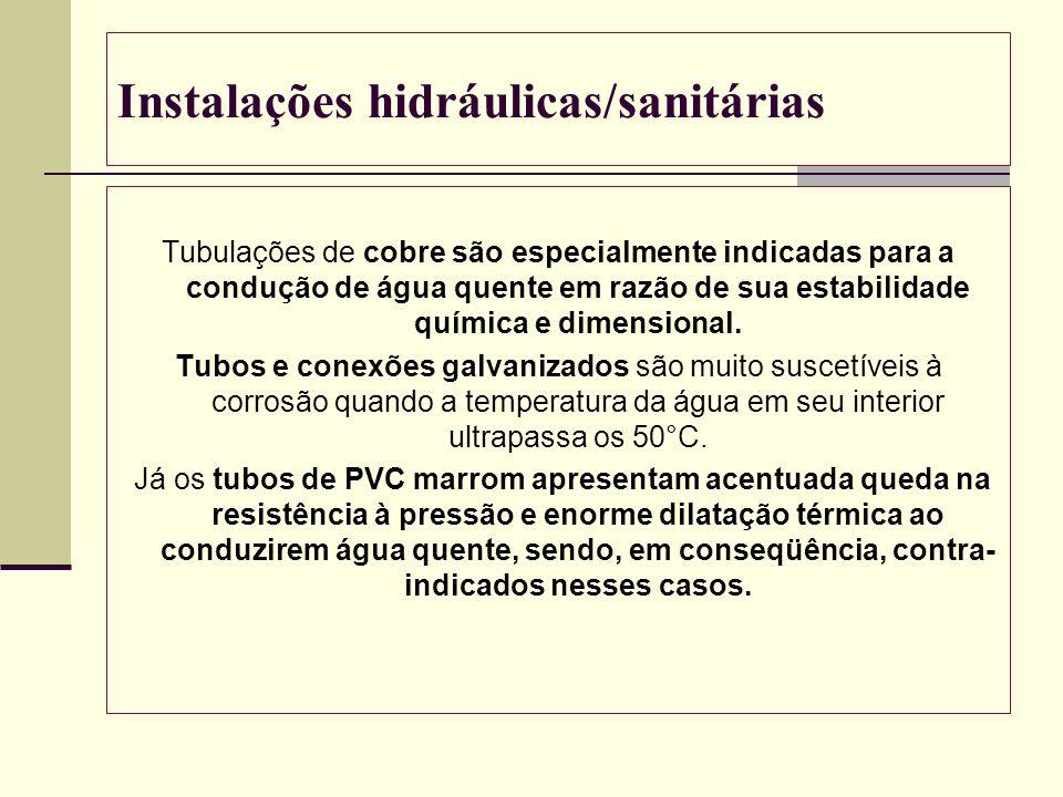 Instalações hidráulicas/sanitárias Tubulações de cobre são especialmente indicadas para a condução de água quente em razão de sua estabilidade química